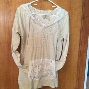 Long-sleeved lace hoodie top